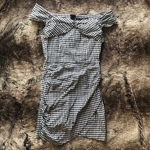 Zara Gingham Off The Shoulder Dress NEW